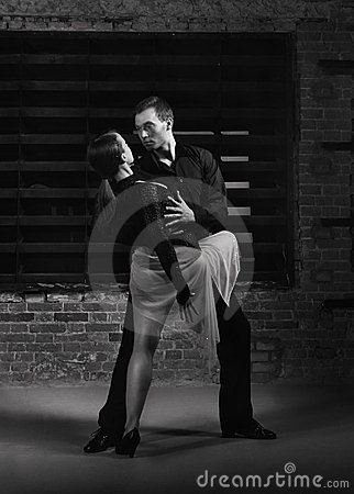 Tango dancers in action