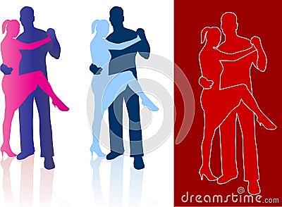 Tango dancers in silhouette