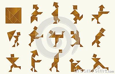 Tangram, people - cdr format
