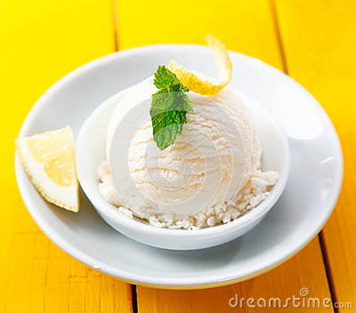 Tangy lemon sorbet served with zest