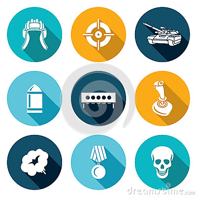 Tank shooting Icons Set. Vector Illustration Vector Illustration