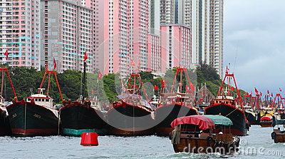 Tanka boat people living on boats in Aberdeen Editorial Photo