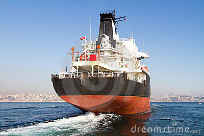 Tanker ship on route