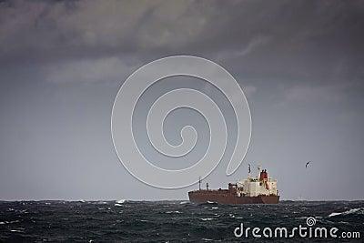 Tanker ship on stormy seas