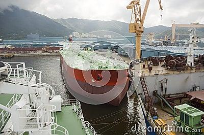 Tanker in shipyard