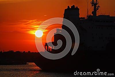 Tanker at Sunset
