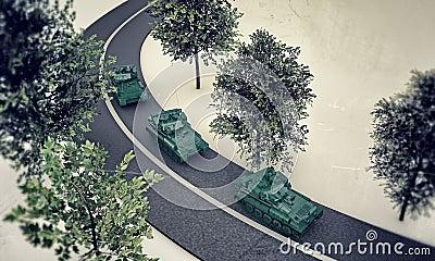 Tanks along a road