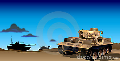 Tanks in Evening Illustration