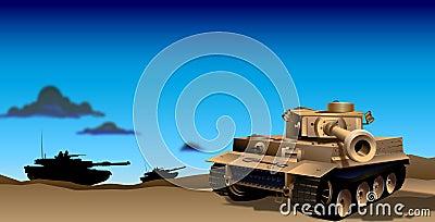 Tanks in Evening Illustration