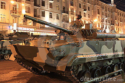 Tanks in the street of Moscow Editorial Photography
