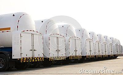 Tanks under blue sky