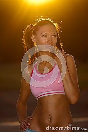 Tanned fitness girl