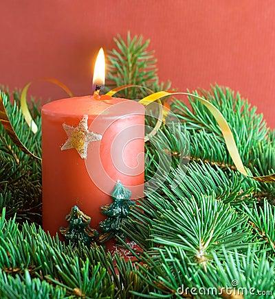 tannenzweig und weihnachtskerze stockbilder bild 11362084. Black Bedroom Furniture Sets. Home Design Ideas