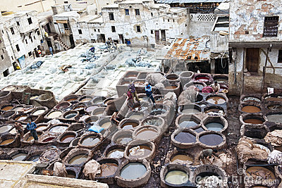 Tanneries of Fes, Morocco Editorial Stock Photo