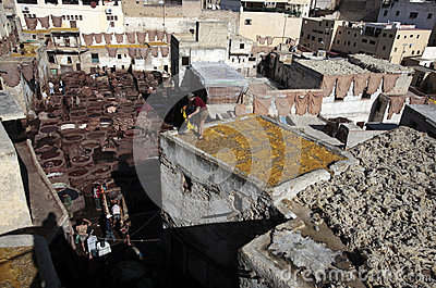 Tannery of Fez, Morocco Editorial Photo