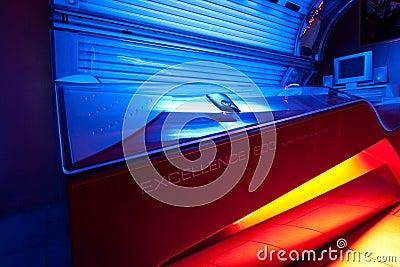 Tanning bed at solarium studio Editorial Photo