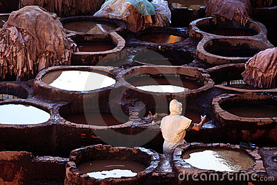 Tanning pools at a leather tannery