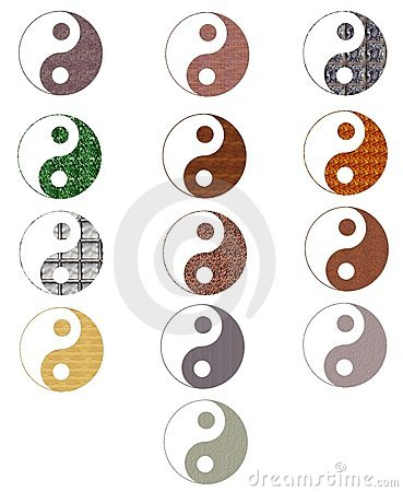 Set of colorful artistic tao