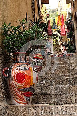 Free TAORMINA, ITALY- January 04, 2017: An Uniquely Decorated Narrow Stock Photo - 88651080