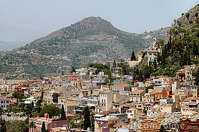 Taormina, Sicily With Mountains In Background