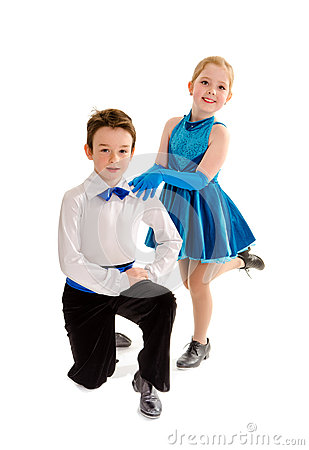 Tap Dance Boy And Girl Partners Royalty Free Stock Images