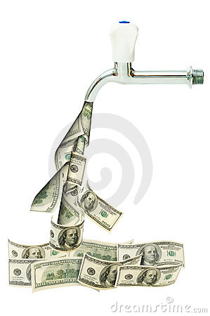 Tap with dollars flowing out