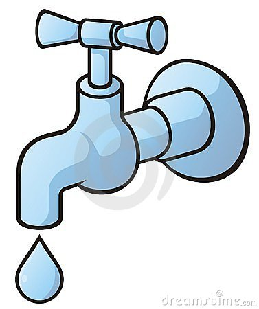 Dripping tap, light blue illustration with light shadows isolated on ...