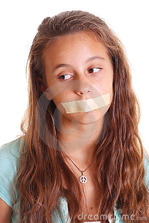 Tape on girl s mouth
