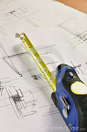 Tape measure and construction plan