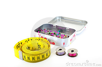 Tape measure pins and bobbins