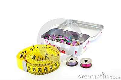 Tape measure pins and bobbins