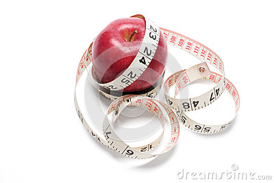 Tape Measure and Red Apple