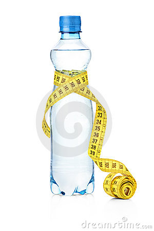A tape measure and a water bottle