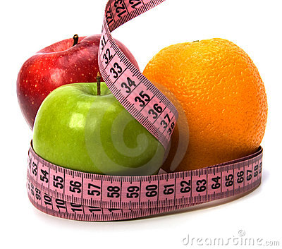 Tape measure wrapped around fruits