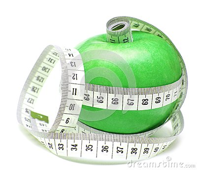 Tape Measure Wrapped Around Green Apple Royalty Free Stock Images - Image: 15574719