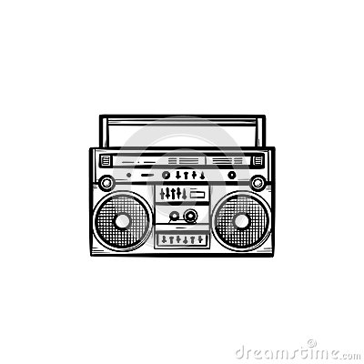 Free Tape Recorder With Radio Hand Drawn Outline Doodle Icon. Royalty Free Stock Image - 117184826