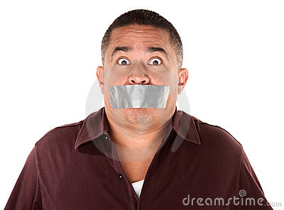 Taped Mouth Hispanic Man