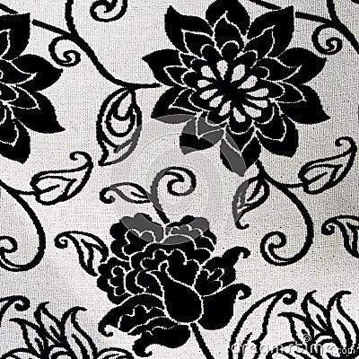tapisserie florale noire et blanche fleurie photos stock. Black Bedroom Furniture Sets. Home Design Ideas