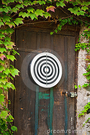 Dartboard on door