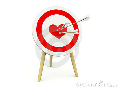 Target with heart and arrows