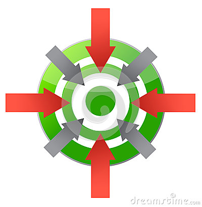 Target pointing to center illustration design