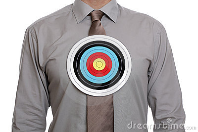 Target symbol on businessman chest