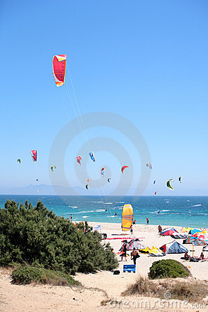 Tarifa beach in Spain packed with kitesurfers