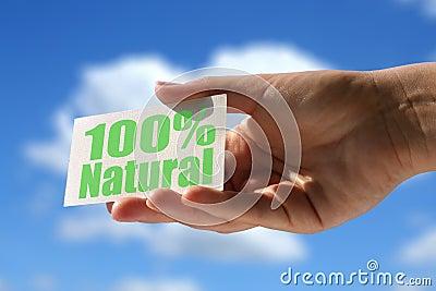 Tarjeta con la inscripción natural del 100