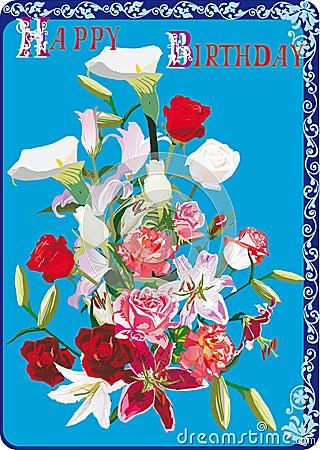 Tarjeta de felicitación del cumpleaños con las rosas y los lirios