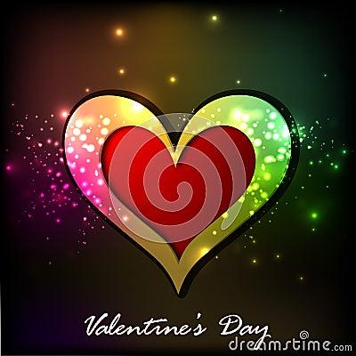 Tarjeta de felicitación brillante del día de tarjetas del día de San Valentín