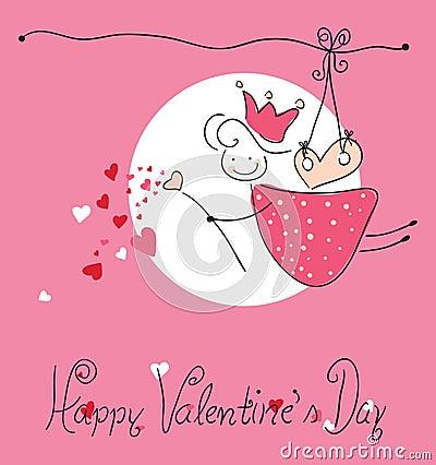 Tarjeta de felicitación feliz del día del `s de la tarjeta del día de San Valentín
