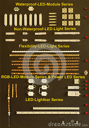 Tarjeta de la demostración con el módulo del LED