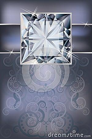Tarjeta de la invitación de la enhorabuena con el diamante