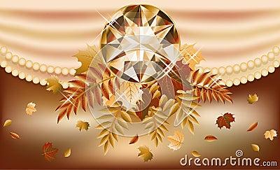 Tarjeta de la invitación del otoño con la piedra preciosa preciosa